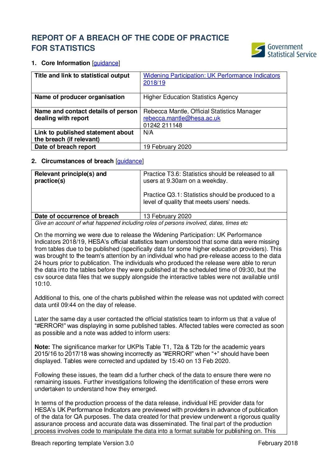 Widening Participation: UK Performance Indicators 2018/19