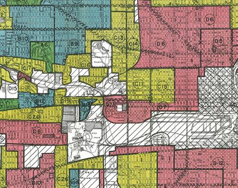 Map showing areas of Milwaukee outlining neighbourhoods